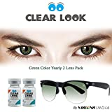 New Clear Look Zero Power Green Color Yearly Contact Lens with Free UV Sunglass (2 Lens Pack) By Visions India.