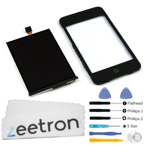 Zeetron Ipod Touch 2Nd Gen Replacement Glass Digitizer Touch Screen Assembly With Frame & Home Button + Lcd Screen + Tools + Zeetron Microfiber Cloth.