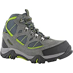 HI-TEC RENEGADE TRAIL Boys Girls Waterproof Hiking Boots (1 US) (Graphite/Dark Grey/Chartreuse)