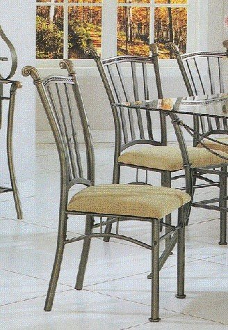 Set of 2 Modern Wrought Iron Metal Dining Chairs w/Cushion Seats