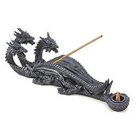 Figura de Dragón mítico Bellaa Triple Head varilla de incienso de quemador de esencias y cono quemador de esencias