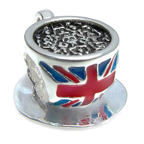 Queenberry Sterling Silver British Tea Cup Flag Enamel European Style Bead Charm