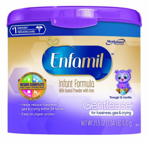 Enfamil Gentlease Infant Formula Milk-Based Powder With Iron, Reusable Tub, 21.5 Ounce (Packaging May Vary)