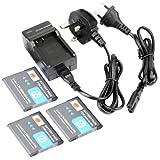 DSTE® 3pcs NP-BN1 Replacement Li-ion Battery + Charger DC95U for Sony Cyber-shot DSC-W510, DSC-W515PS, DSC-W520, DSC-W530, DSC-W550, DSC-W560, DSC-W570, DSC-W580, DSC-W610, DSC-W620, DSC-W650, DSC-W690, DSC-W710, DSC-W730, DSC-W810, DSC-W830, DSC-WX5, DS