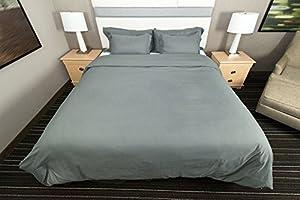 La Vie Moderne Premium 1800 Thread Count Microfiber Duvet Cover / Pillow Case Set (Gray, Queen)