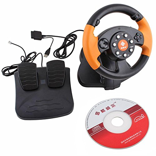 3 in 1 USB Wired Vibration Gaming Racing Steering Wheel Joystick for PC PS3 PS2 Game (Pc Ps3 Steering Wheel compare prices)