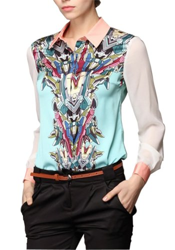 HaboZoo Womens Fashion Art Print Long Sleeve Lapel Collar Blouse Large