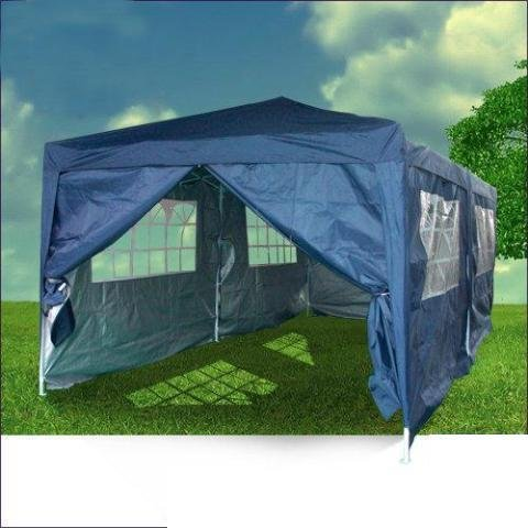 Quictent 3m x 6m Navy Blue Easy Pop Up Gazebo Party Wedding Tent With Sidewalls/Sliver Coated