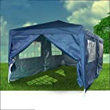 Quictent 3m x 6m Navy Blue Easy Pop Up Gazebo Party Wedding Tent With Sidewalls/Sliver Coatedby Quictent