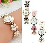 Women Girl Chic Fashion Daisies Flower Rose Golden Bracelet Wrist Watches
