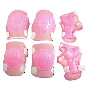 Como Pink Sports Protective Gear Knee Elbow Wrist Support Pad Set for Children