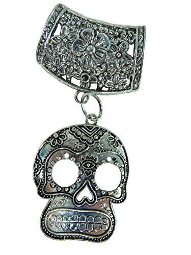 Day of the Dead / Dia de los Muertos sugar skull gothic rockabilly psychobilly scarf pendant bail slide set. Jewelry finding accessories for DIY jewelry scarf necklace.