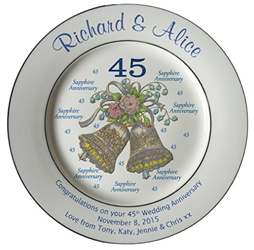 Personalized Bone China Commemorative Plate For A 45th Wedding Anniversary - Wedding Bells Design With 2 Silver Bands