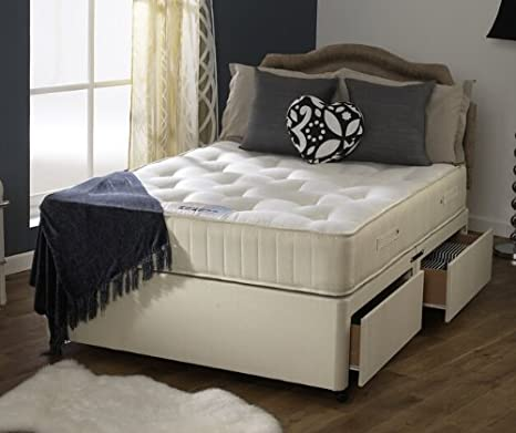 Happy Beds Divan Bed Set Ortho Royale With 2 Drawers Orthopaedic Mattress 4' Small Double 120 x 190 cm