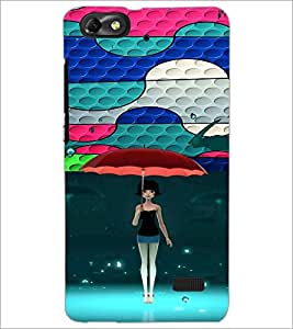 PrintDhaba Umbrella Girl D-4674 Back Case Cover for HUAWEI HONOR 4C (Multi-Coloured)