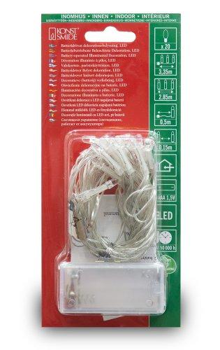 Konstsmide 1408-203 LED Lichterkette 20 kalt weiße Dioden / Batterien: 2xAA 1.5V / transparentes Kabel