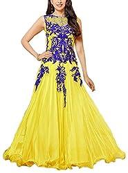 Hatdi Sales Women's Georgette Dress Material (Yellow)