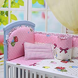 Babycare Pro Strawberry and Bowknot Pattern Crib Bedding Sets, Pink Color (11579578-L)