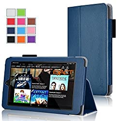 Fire HD 8 Case , Exact [PRO Series] Professional Slim-Fit PU Leather Folio Case for Amazon Fire HD 8 (2015 release)(With Auto Wakes/Sleep Function) Navy Blue