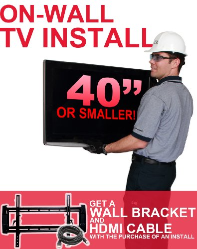 On-Wall TV Install - Includes Wall Mount Bracket and HDMI Cable (For TVs 40-inches and Smaller) by Dish