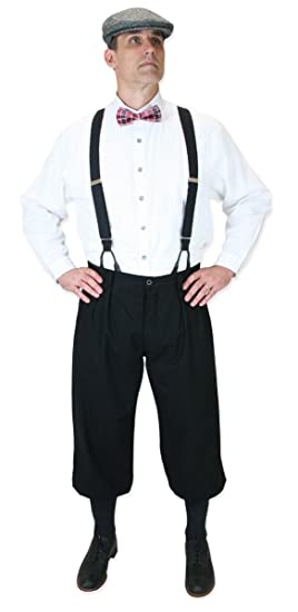 1920s Men's Pants History: Oxford Bags, Plus Four Knickers, Overalls Black Cotton Blend Knickers $64.95 AT vintagedancer.com