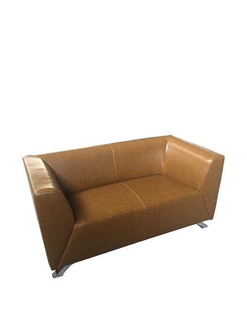 Canapé deux places brun élégant