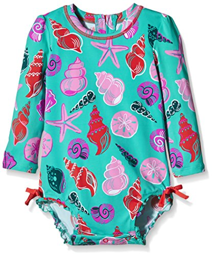 Hatley Baby Beach Shells Rash Guard, Turquoise, 12-18 Months