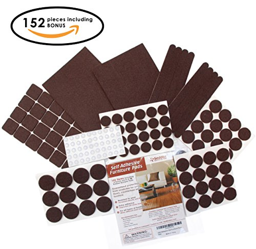 Seddox PREMIUM Felt Furniture Pads Set - 152 pieces with Bonus Rubber Bumper Pads - Self Stick Extra Adhesive Hardwood Floor Protectors, Felt Pads for Furniture Feet Brown