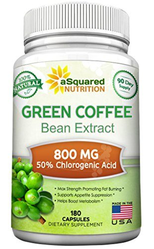100% Pure Green Coffee Bean Extract - 180 Capsules - Max Strength Natural GCA Antioxidant Cleanse for Weight Loss, 800mg w/ 50% Chlorogenic Acid per Pill, 1600mg Daily Supplement, Healthy Fat Burner (Leptin Green Coffee 800 compare prices)