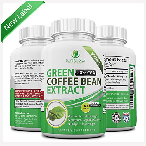 Pure Green Coffee Bean Extract High Dose 1600mg per Day Weight Loss Detox Supplement & Extreme Fat Burner High in GCA's with 50% Chlorogenic Acid 60 Veggie Capsules (Coffee Bean Extract Highest Grade compare prices)