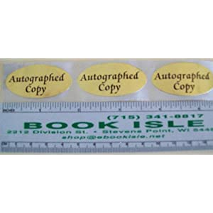 "'Autographed Copy' Stickers (1000 Roll)  2"" Oval Bright Gold Laminated Foil, Labels"