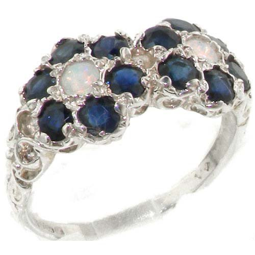 Rare Solid Sterling Silver Natural Sapphire & Fiery Opal Double Daisy Ring - Size 11.75 - Finger Sizes 4 to 12 Available - Suitable as an Anniversary ring, Engagement ring, High Quality ring, or Promise ring