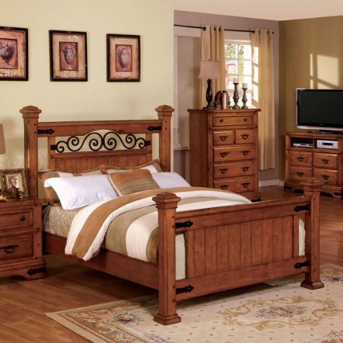Queen Size Sonoma American Oak Finish Bed Frame front-832484