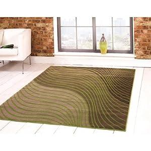 Flair Rugs Sincerity Modern Ripple Rug, Green, 80 x 150 Cm by Flair Rugs