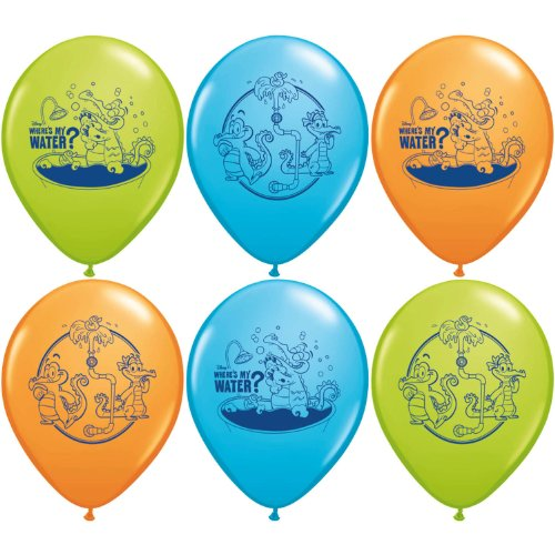 "Pioneer National Latex Where's My Water 6 Count 12"" Latex Balloons, Assorted"