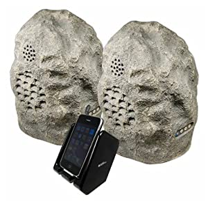 C2G / Cables to Go Audio Unlimited 900MHz Wireless Indoor/Outdoor Rock Speaker Bundle (Rechargeable) with Dual Power Transmitter, Granite (SPK-ROCK-DUO2 )