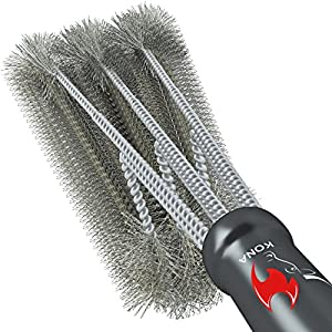"""360° CLEAN GRILL BRUSH By Kona(TM) - 18"""" Best BBQ Grill Brush - 3 Stainless Steel Brushes In 1 Provides Effortless Cleaning - FREE 5 YEAR REPLACEMENT - Great BBQ Accessories Gift - Stiff Light Weight Design - Perfect For Weber, Char-Broil, Porcelain & Inf"""