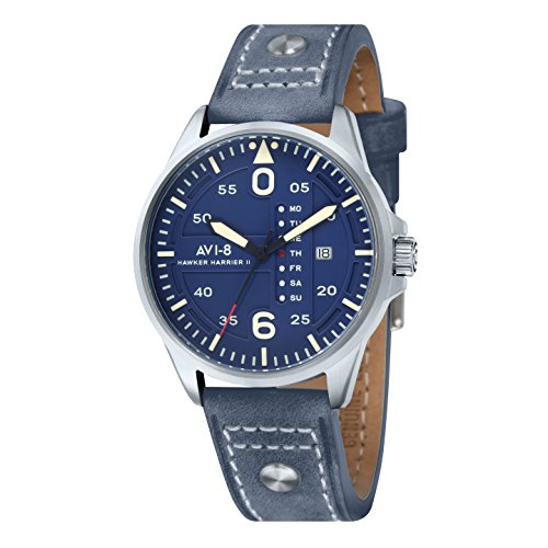 Avi-8 Hawker Harrier II Blue Retrograde Men's Quartz Watch with Blue Dial Analogue Display and Blue Leather Strap AV-4003-05