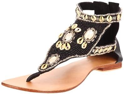 Cocobelle Women's Sea Shells Thong Sandal,Black,37 EU/7 M US