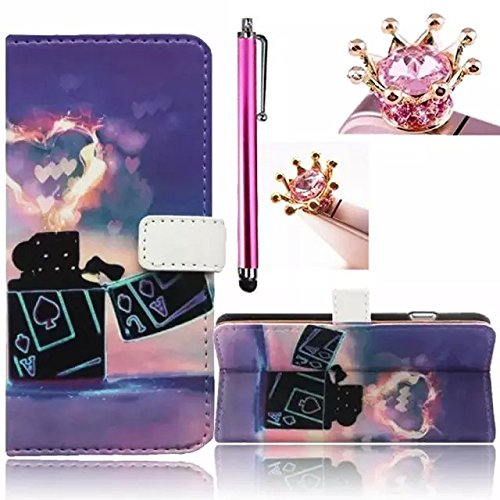 Vandot 3 in1 Set Lusso Pattern Magnetico Wallet Case Cover PU Custodie Protector di Telefono per Huawei Ascend Y550 Flip Standing Shell Skin with Silicone Housing - Picche Asso con Nubi a Forma di Cuore+ Diamond Glitter Crown Anti Dust Plug e Metal Stylus Stilo