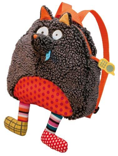 Crazy Cuddly Wolf Plush Backpack, Grey
