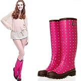 レインシューズ レインブーツ 雨靴 レディース 女性用 雨具 靴 ロング丈 ドット柄 水玉柄 hy403-yx13