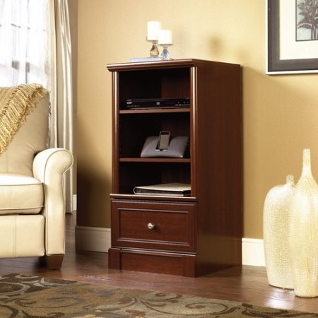 sauder-palladia-audio-media-tower-with-smooth-metal-runners-and-safety-stops-cherry