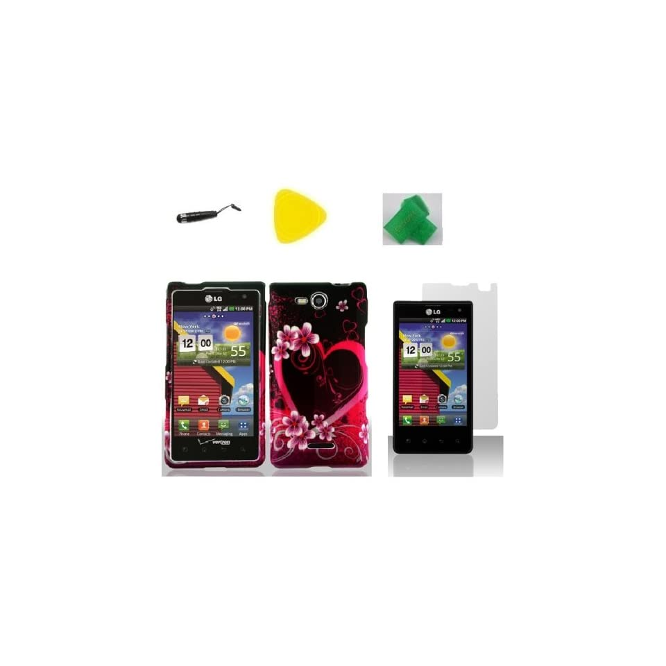 Purple Heart Love Faceplate Hard Phone Case Cover Cell Phone Accessory + Yellow Pry Tool + Screen Protector + Stylus Pen + EXTREME Band for Lg Optimus Exceed Lg vs840pp VS840PP