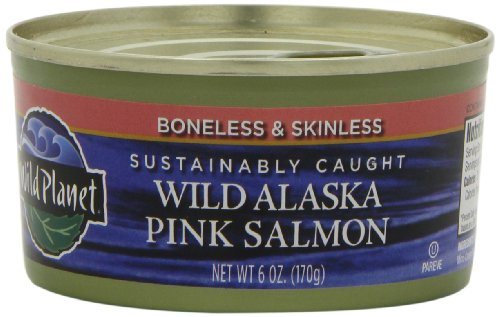 Wild Planet Wild Alaskan Pink Salmon, Boneless & Skinless, 6-Ounce Cans (Pack of 6)