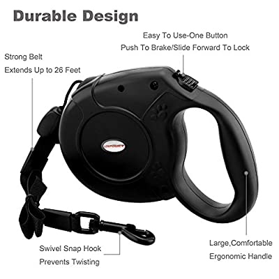 Retractable Dog Leash,URPOWER Retractable Dog Belt 26 Ft With Sturdy Nylon Rope, Comfortable Hand Grip, One Button Brake & Lock for Medium & Large Dogs,Perfect for Training Backyard Use and Walking