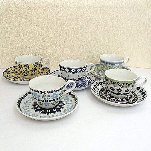 コーヒーカップソーサー 5客セット ポタリーフィールド 北欧風 【箱入り】 美濃焼