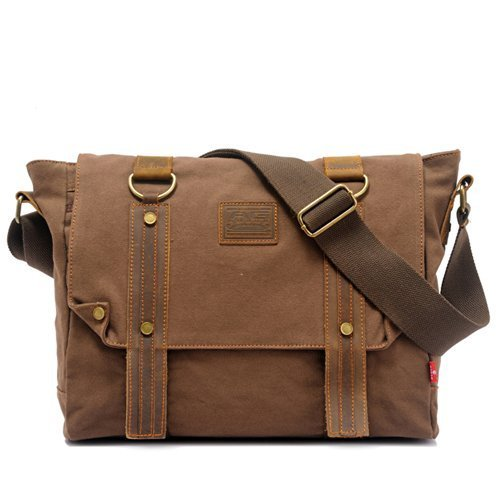 EcoCity Vintage Leather Canvas Shoulder Messenger Bags School Satchel Bag