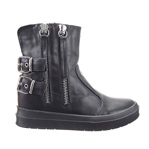 Sopily - Scarpe da Moda Stivaletti - Scarponcini Low boots Zeppe alla caviglia donna fibbia Zip Tacco zeppa piattaforma 3.5 CM - soletta tessuto - Nero CAT-2071-B1 T 39 - UK 6