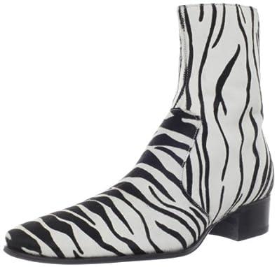 DSQUARED2 Men's Dean Beatle Pony Dress Boot, Black/White/Zebra Striped,39 EU/7 M US